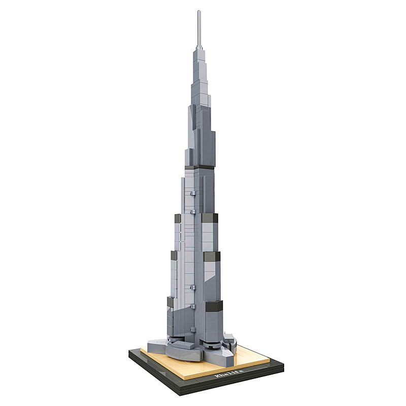 Architecture Burj Khalifa Landmark Collection Building Blocks Kit City Bricks Classic Model Kids Toys Gift Compatible Legoings 1681pcs assembly blocks burj khalifa tower model toy diamond bricks kids gifts birthday present compatible creator 16 16 45cm