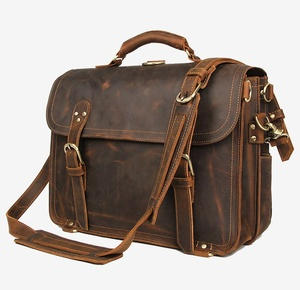 "Image 2 - Genuine Leather Men Handbag Vintage Crazy Horse Leather Messenger Bag 15.6"" Laptop Briefcase Multi Function Shoulder Bags Travel"