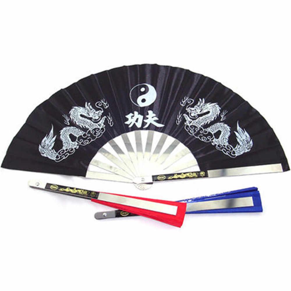 Chinesische Kongfu gedruckt folding fan pieghevole fenster Edelstahl Tai Chi Fan Kung Fu Wushu Gym Zeigen Schmücken Fan #0821