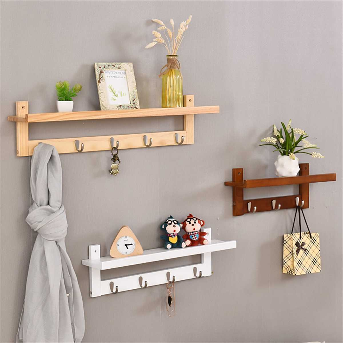 5 Hook Wall Mounted Rail Coat Hat Hanger Shelf Display Rack Storage Shelves Organizer Home Rack Hanging Hooks Home Decor