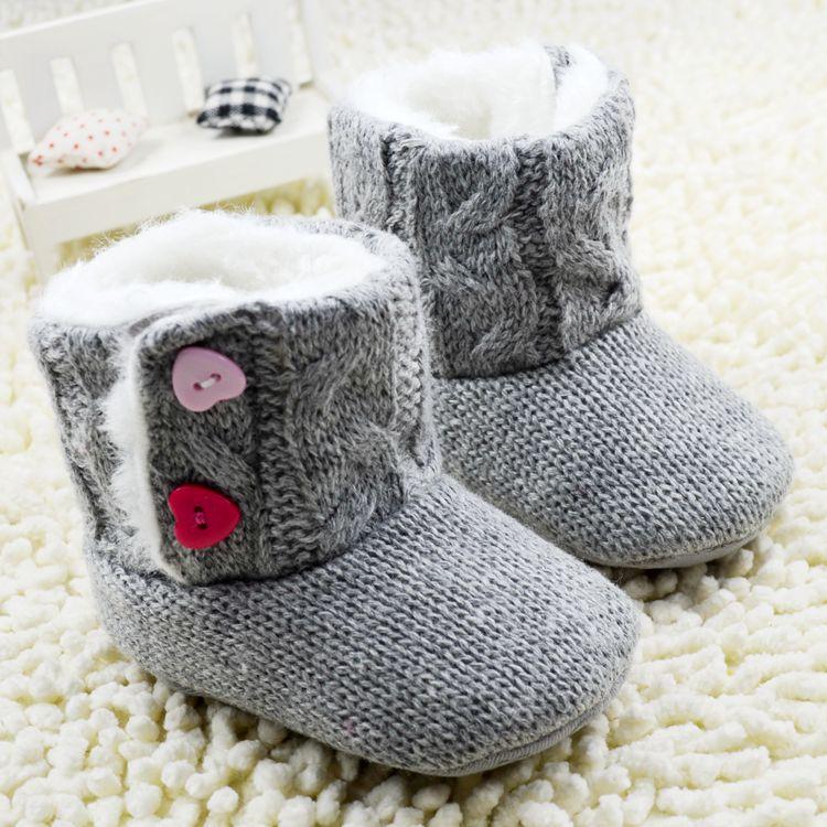 662e78cb006 Grey Winter Baby Shoes Brand Newborn Girls Kids Warm Boots First Walker  Wool Booties Infant Toddler Crochet Knit Fleece Sneakers