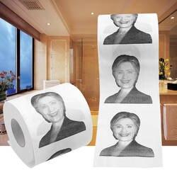1 шт. Хиллари Клинтон улыбающийся Туалет Рулон Бумаги президента Новинка Забавный кляп подарок 2 слоя 240 простыни