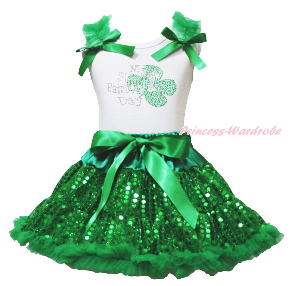 White Top My 2ND St Patrick Day Clover Green Bling Sequins Girls Skirt Set 1-8Y white top my 2nd st patrick day clover green bling sequins girls skirt set 1 8y