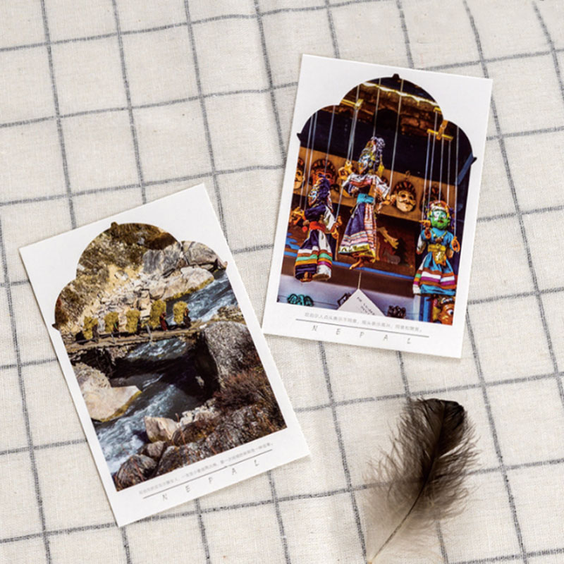 30 Pcs/pack Creative Nepal Scenery Postcard Travel Postcard New Year Greeting Card Christmas Birthday Message Card Gift Card