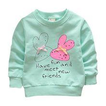 Свитшоты для маленьких девочек, весенние рубашки, футболки с длинными рукавами для младенцев, весенний Детский свитер с рисунком кролика