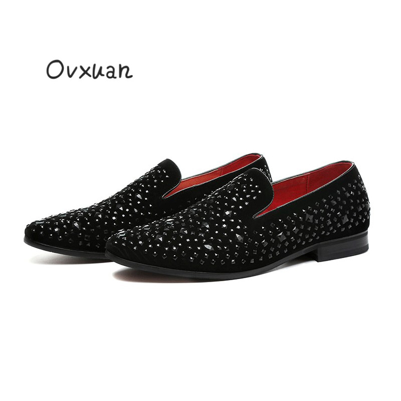 New Handmade Pointed Toe Rhinestone Men Casual Shoes Fashion Wedding Party and Banquet Men Loafers Street Smoking Slippers Shoes womens fashion handmade ankle strap pointed toe party wedding flats shoes cke119