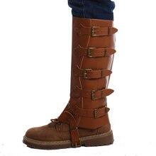 Обувь в стиле ретро; обувь для костюмированной вечеринки из искусственной кожи с пряжкой; водонепроницаемые ботинки с высоким голенищем В рыцарском стиле; цвет черный, коричневый