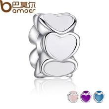 4 Colors 925 Silver Sparkling LOVE Heart Charm Fit Pandora Bracelet Necklace Original White Enamel Accessories  PA5284
