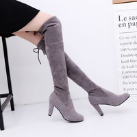 Womens Boots Micro Suede Over The Knee Thigh High Boots Block Thick Heel Stretch Boots For
