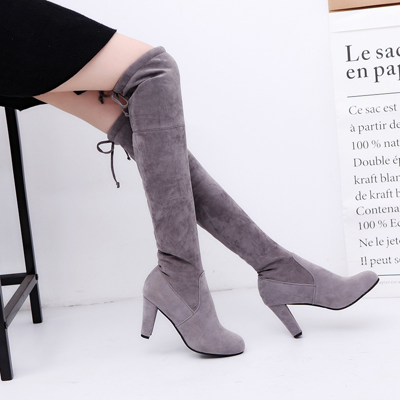Womens Boots Micro Suede Over the Knee Thigh High Boots Block Thick Heel Stretch Boots for Woman Plus Size suede chunky heel womens thigh high boots