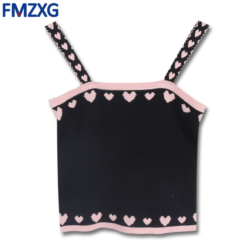 Sexy Heart Crop   top   Knitted 2018 Summer Women Camis Sweet Knit Love Print Patchwork Sleeveless Bustier   Tank     Top   Vest Female