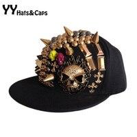 So Cool Hip-hop-kappe Mann Diamant Schädel Baseballmützen 2015 Marke Neue Rock Wohnung Krempe Frau Hüte Hysterese Beute Caps YY0242