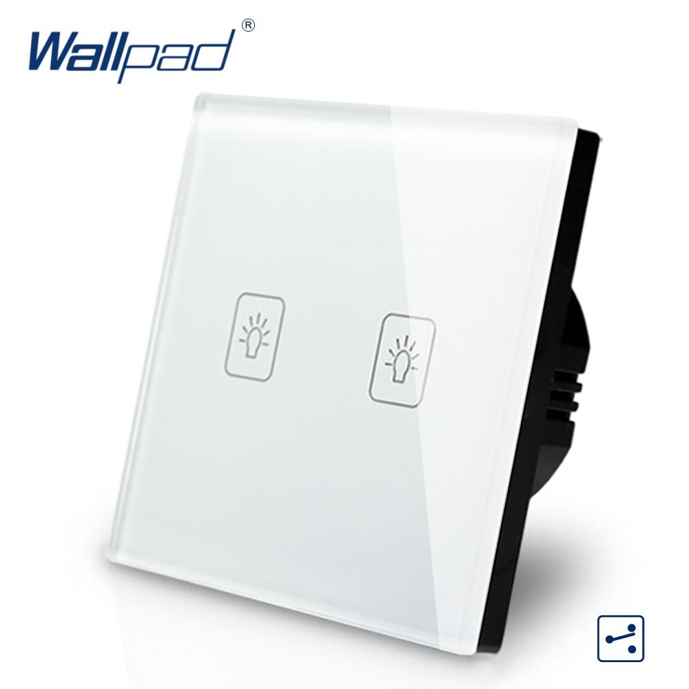 2 Gang 2 Way 3 Way EU Touch Switch Waterproof 110V-240V Wallpad White Temepred Glass Wall Light Switch EU 2 Gang Free Shipping