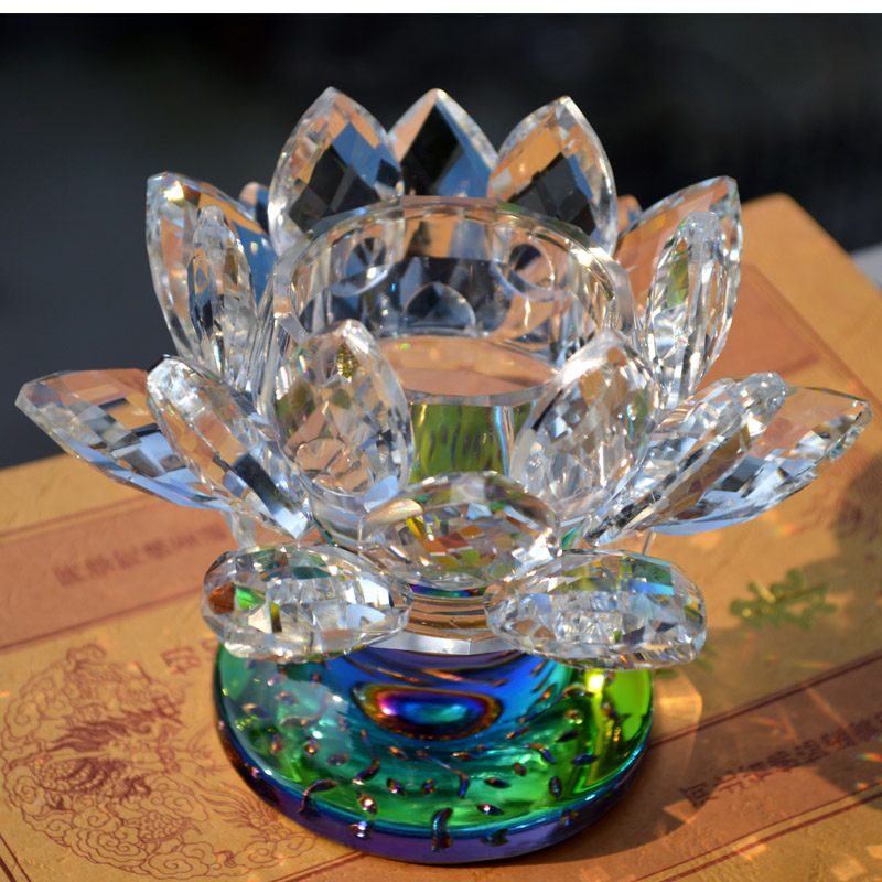 Candle Holders Big Tealight Clear 80*115mm Religious Holder Sparkle Crystal Glass Lotus Flower wedding candelabra Gifts craft