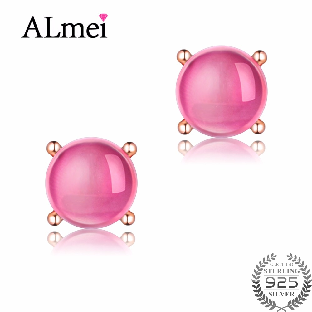 Almei 2ct Ruby 925 Sterling Silver Stud Earrings Clear Pink Natural Stone Women Engagement Fine Jewelry with Box 40% FR021