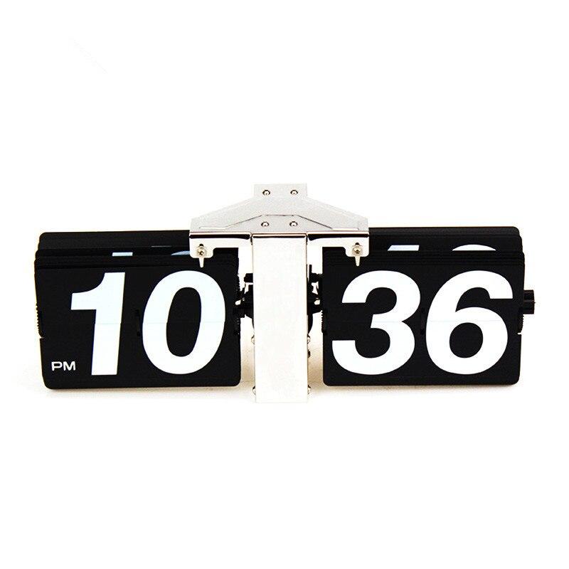 2018 cadeau créatif rétro numérique Auto Flip horloge en acier inoxydable cadran à engrenages à Quartz horloge Unique moderne horloges de bureau