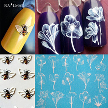 1pc 3D Acrylic Engraved Bee Lotus Nail Sticker Embossed Rose Flower Water Decals Empaistic Nail Water Slide Decals Fashion Nails