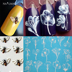 Image 1 - 1pc 3D Acrylic Engraved Bee Lotus Nail Sticker Embossed Rose Flower Water Decals Empaistic Nail Water Slide Decals Fashion Nails
