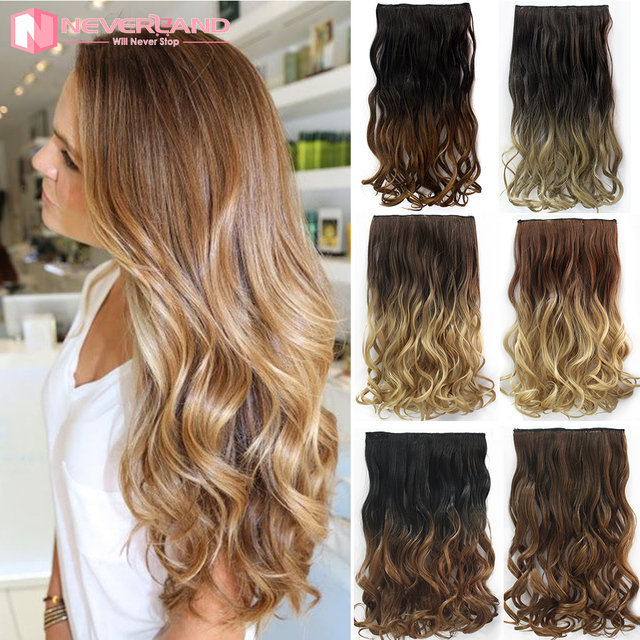 Neverland 24 60cm Wavy Curly Extension Clip In On De Cheveux Ombre Hair Apply