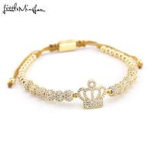 Браслет king's crown из медных бусин регулируемый ручной