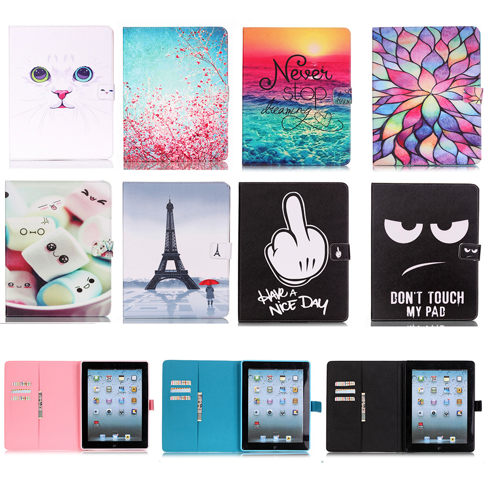 Fashion PU Leather Flip Case For Apple iPad 2 3 4 9.7'' Original Smart Tablet Stand Cover With Card Slot for iPad2 iPad3 iPad4  2016 new tablet case for apple ipad 4 3 2 flip stand alice in wonderland