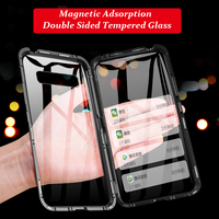 AmzBoon 360 degree Double Sided Full Magnetic Case For Samsung S10 Front Back Glass Case Cover For Galaxy S10 Plus Magnet Case