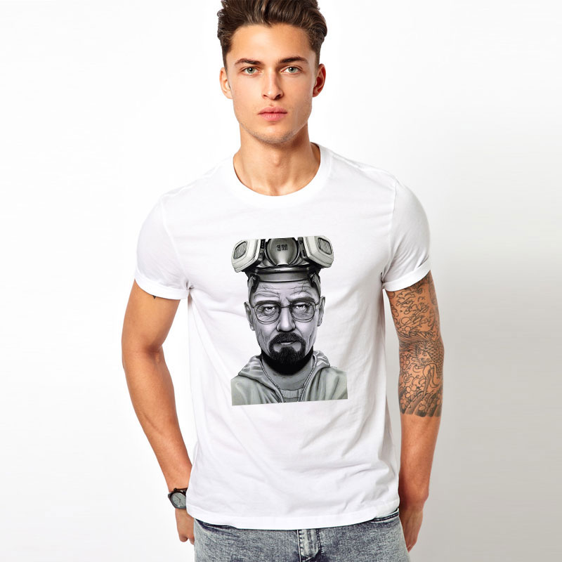 free shipping Summer new fashion men's top tees Fanny Breaking Bad t-shirts printing aviator glasses t shirts high quality