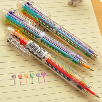 1pcs/Lot   6 In 1 Colorful Pens Novelty Multicolor Ballpoint Pen Multifunction Stationery School Supplies