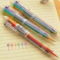 1 unids/lote 6 en 1 plumas de colores novedad bolígrafo Multicolor de papelería de la escuela suministros