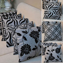 Hot New Retro Soft Linen Black Grey Petal Throw Pillow Cushion Case Cover Home Office Room Bed Decorative Gift(China)