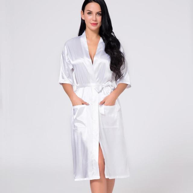 White Summer Women Satin Sexy Lingerie Robe Nightgown Bride Bridesmaid  Wedding Gown Sleepwear Kimono Bath Gown Plus Size XXXL a6ff59cfa