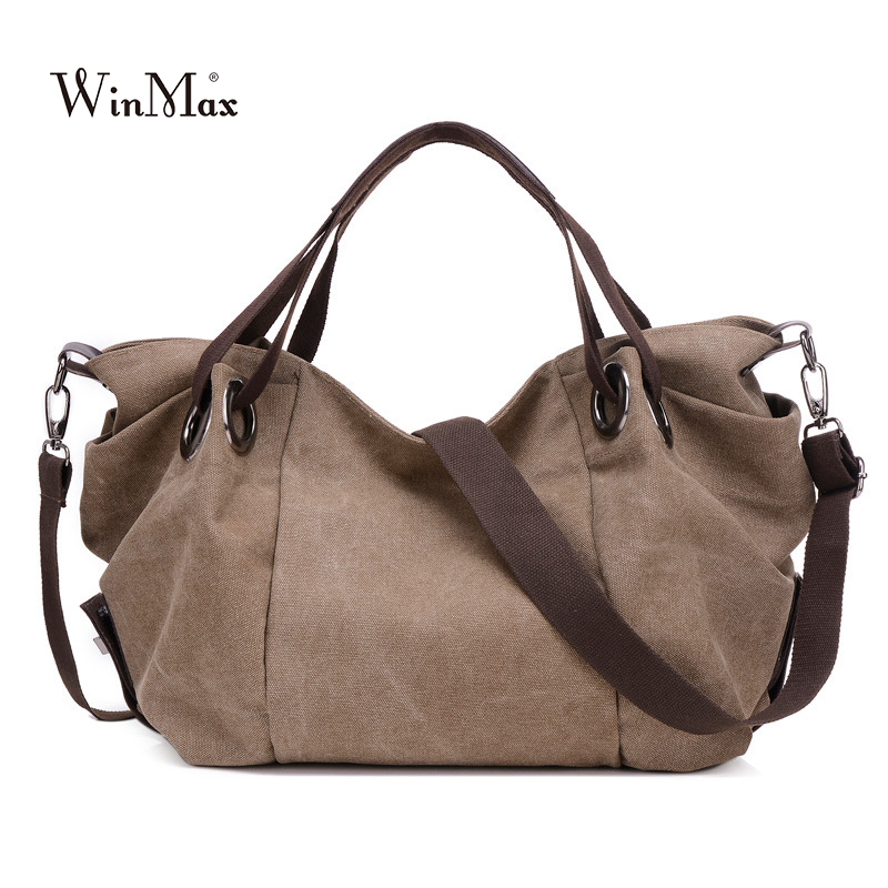 Winmax High Quality Trapeze Ruched Canvas Women Handbag fashion brand hand bag Casual Large Hobos Bag on sale Female Totes Bolsa
