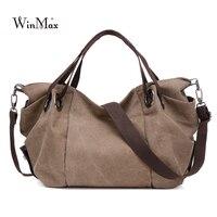 Winmax High Quality Trapeze Ruched Canvas Women Handbag Fashion Brand Hand Bag Casual Large Hobos Bag