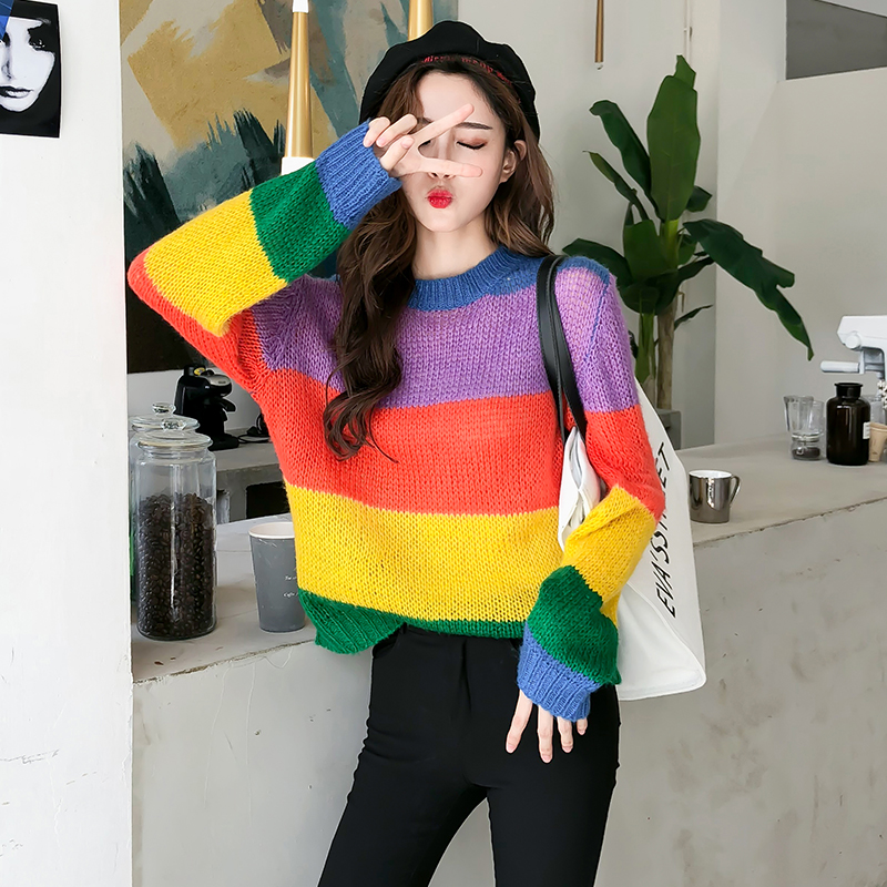 Casual Fashion Rainbow Striped Loose Sweater Women's Sweaters Lady Cute Kawaii Female Vintage Harajuku Ulzzang Jumper For Women