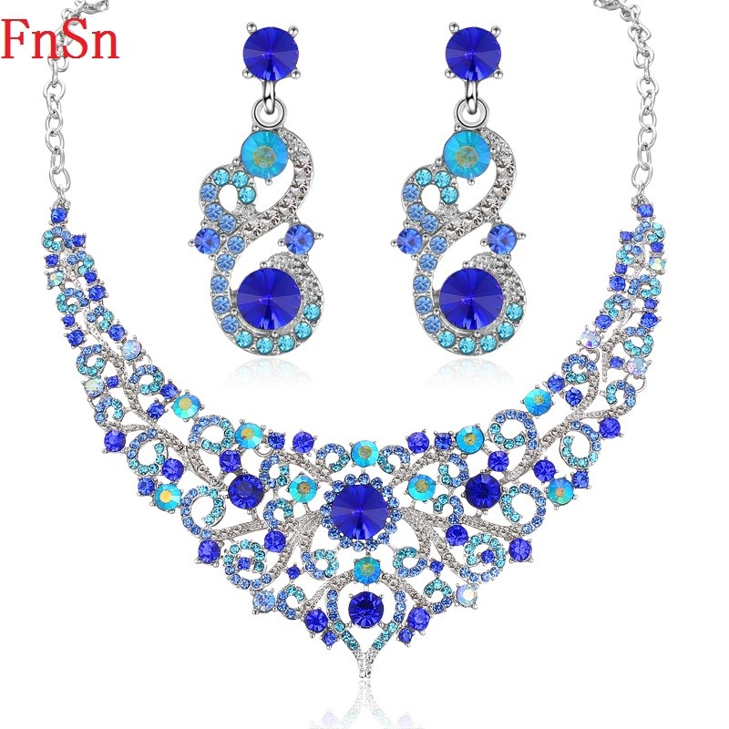 FnSn New Jewelry Sets Crystal Necklace Set Colorful Rhinestone Wedding Party Necklace Earring Fashion Jewelry Gift Women S134