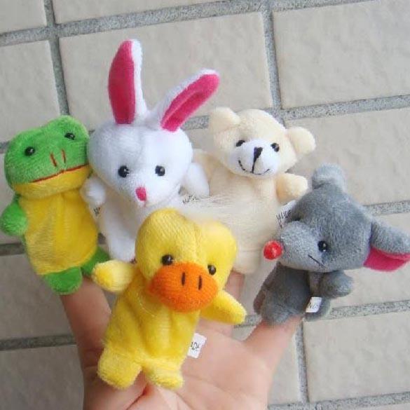 10pcs Cartoon Biological Animal Finger Puppet Plush Toys Child Baby Favor Dolls Baby Kids Children Gift Toy Free Shipping