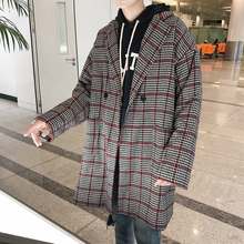Fashion Casual Mens Cotton Coat Winter New M-2XL Plaid Medium Long Section Loose Top Tricolor Personality Youth Popular