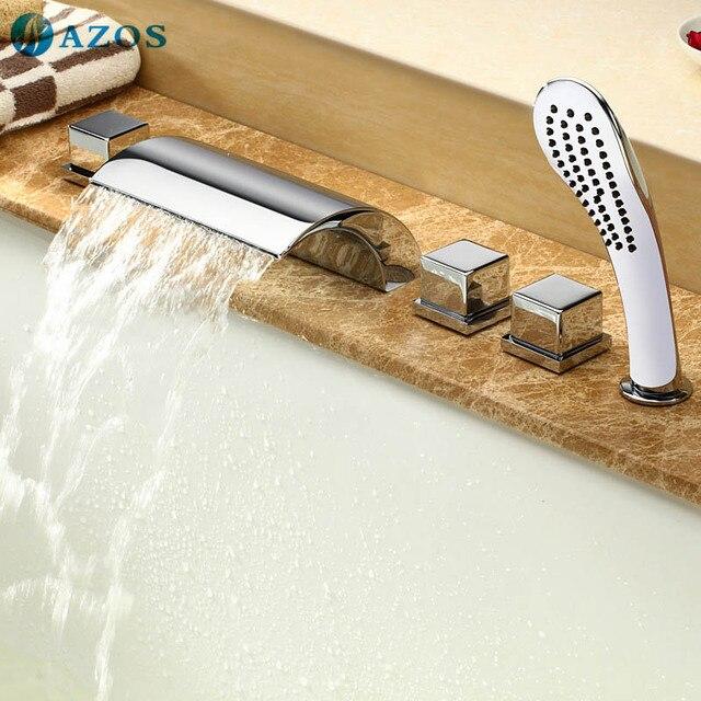 Bathtub Shower Faucets Chrome Polish Bathroom Suana 5pc Sets Showerhead,Diverter,Two Handles,Shower Hose,Waterfall Spout YGWJ012