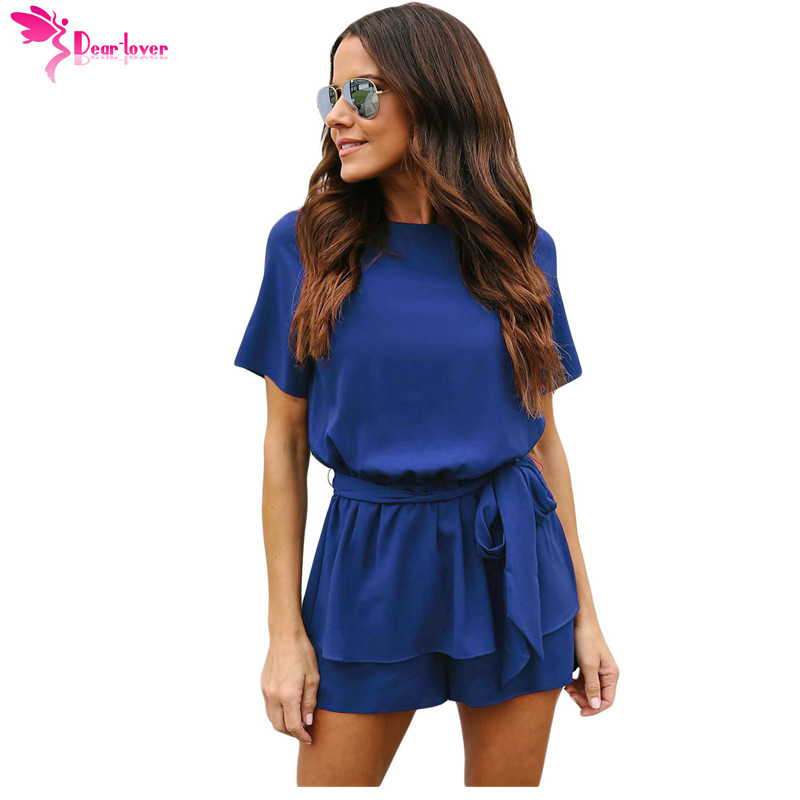 Dear Lover Casual Playsuit Summer Navy Half Sleeves Peplum Waist Romper Women   Jumpsuits   Boho Short Overalls Macacao 2018 LC64383