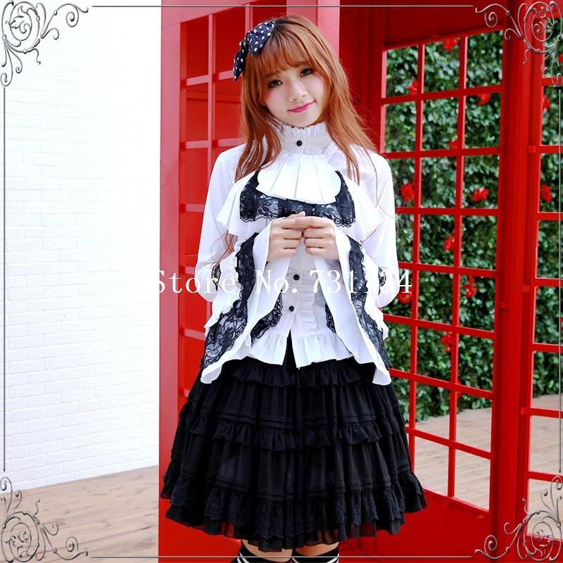 2016 Manga Encaje Señoras Pa Verano Blusa Algodón Negro Gótico Y blanco Lolita Blanco Camisa Negro Flare rwPrqX1a
