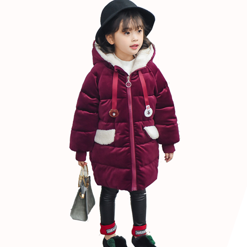 Children Girls Winter Warm Velvet Thick Long Fashion Korean Kids Down Jacket For Girls Clothes Purple Outerwear Coats New 2018 9 winter baby girl coats kids warm long thick hooded jacket for girls 2017 casual toddler girls clothes children outerwear