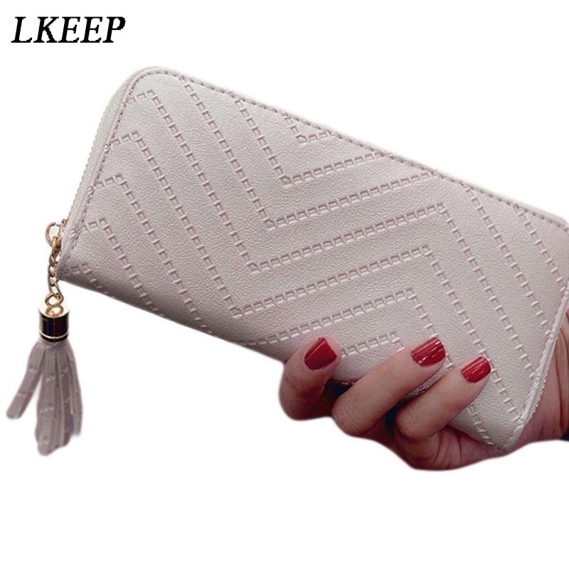 2018 brand designer long women wallets clutch White high quality leather tassel women purse with zipper card holder Cash Receipt