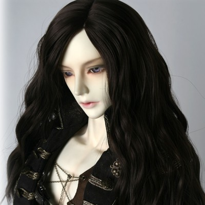 2017 Fashion Style 1/3 1/4 Bjd Wig HighTemperature Long Wavy Black Uncle's Bjd Wig MSD SD For BJD Doll Free Shipping fashion white straight fur wig 1 3 1 4 bjd wigs long wig for diy dollfie