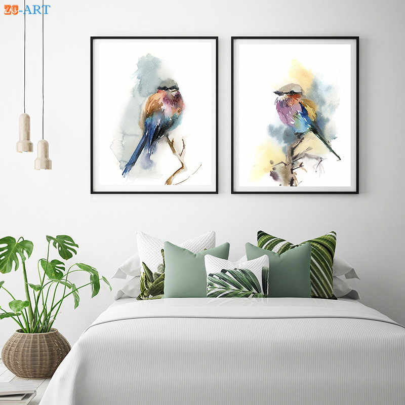 Nordic Minimalist Lilac Birds Prints Poster Watercolor Painting Wall Art Canvas Painting for Living Room Home Decor Framed