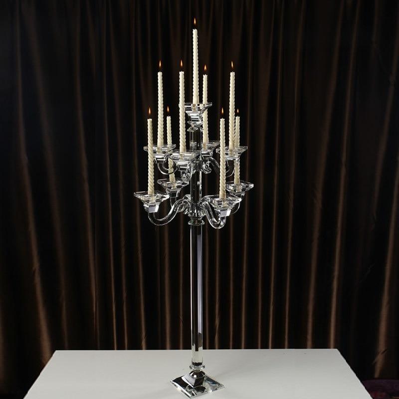 107 cm plancher bougie Stand cristal mariage pièce maîtresse 9 bras grand candélabre décor à la maison correspondant bâton fait à la main ornemental
