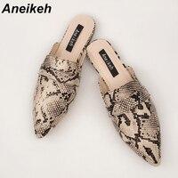 Aneikeh/летние туфли на плоской подошве; женские босоножки; шлепанцы; женские сабо с острым носком без застежки; женские сланцы для улицы