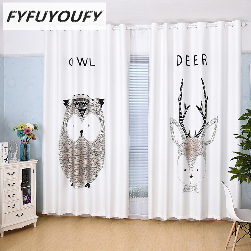 Europe Velvet Fabric high quality luxury Cartoon shading curtains for Children Room window curtain Bedroom Window