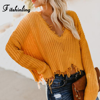 Fitshinling Fringe V Neck Lady's sweater