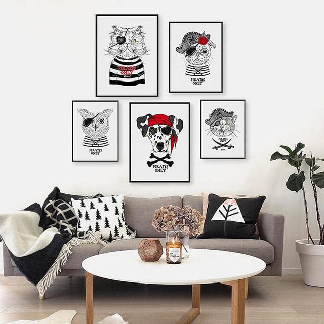 Uberlegen Kühlen Tier Gothic Pirates Piratenhund Pirate Katze Piraten Eule Weiß  Decrative Bilder Poster Wohnzimmer Esszimmer
