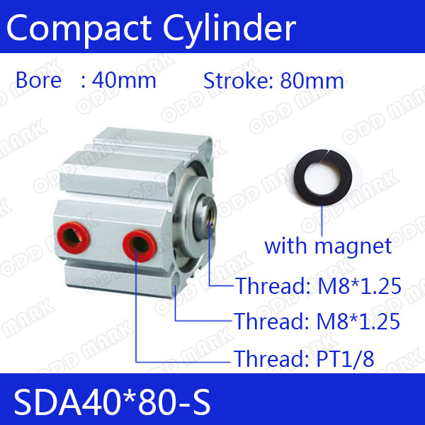SDA40*80-S Free shipping 40mm Bore 80mm Stroke Compact Air Cylinders SDA40X80-S Dual Action Air Pneumatic Cylinder free shipping 40mm bore 80mm stroke 1 8 port pneumatic compact cylinder double action airtac type sda40x80 aluminum alloy